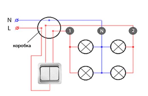 Стандартная схема подключения точечных светильников