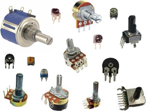 Разные виды переменных резисторов на снимке