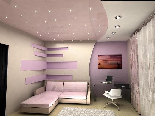 На снимке пример гипсокартонного потолка с подсветкой из точечных потолков