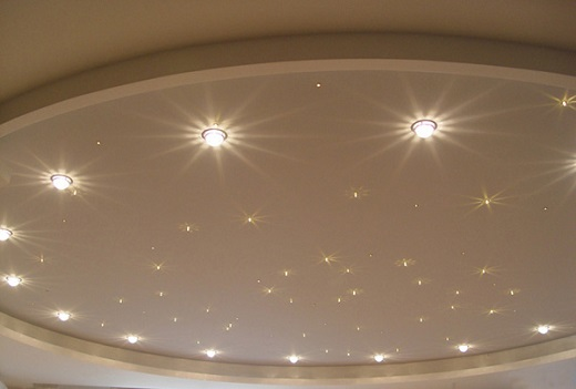 Для гипсокартонных потолков используют светильники с номинальным напряжением от 12 до 220В
