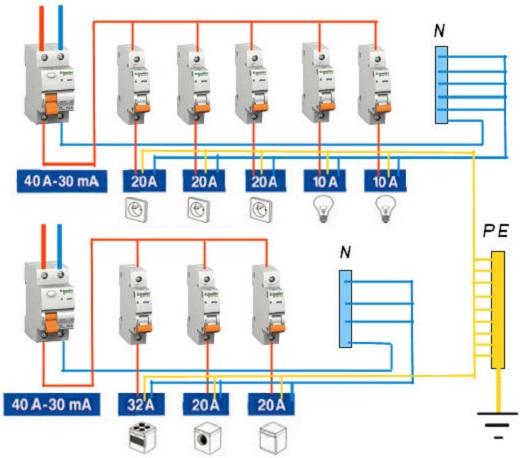 Схема подключения автоматических выключателей на рисунке