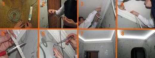 На картинке показаны этапы монтажа светодиодной ленты