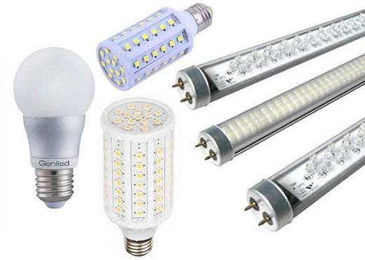 Различные светодиодные лампы представлены на фото