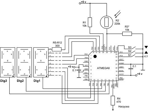 Управление симистором через оптопару на схеме