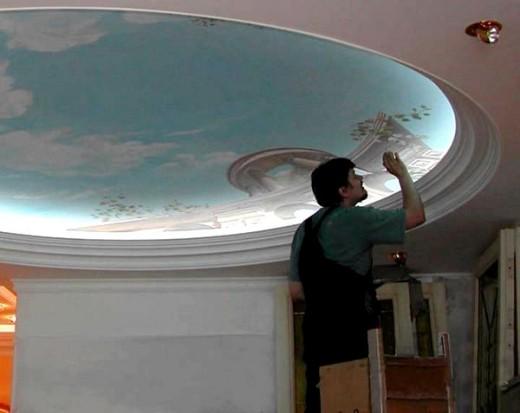 установка светодиодной ленты в гипсокартонную нишу потолка на снимке