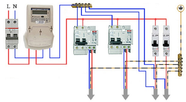 Схема подключения дифференциального автоматического выключателя на рисунке