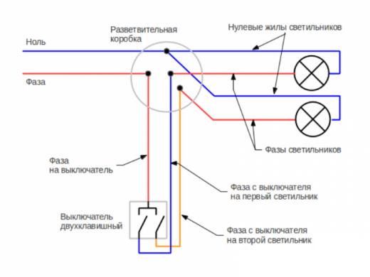 Схема подключения двухклавишного выключателя на две лампочки на изображении