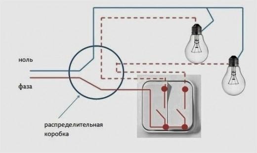 На картинке показана схема подключения лампочки
