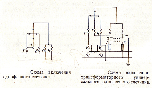 На схеме показано подключение однофазного счетчика через трансформатор тока