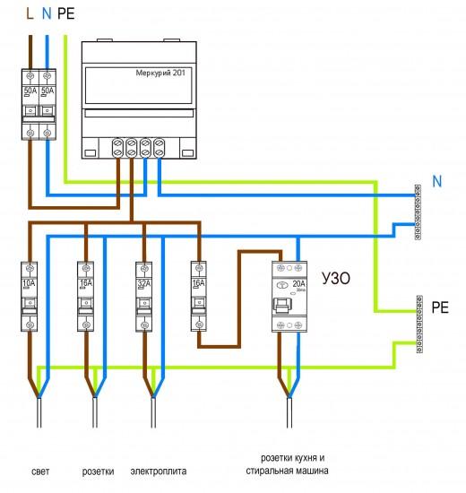 На фото показана схема подключения однофазного счетчика