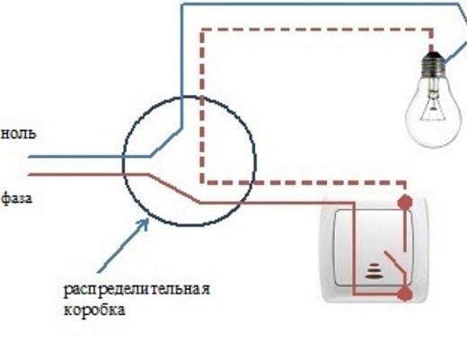 Схема подключения выключателя с подсветкой на рисунке