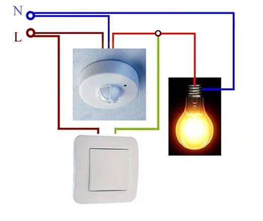 На рисунке показана схема подключения датчика движения для включения света к отдельной лампочке