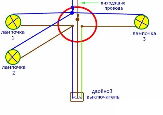 На схеме показано  как подключить три лампочки к одному выключателю