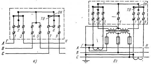 На фото показаны различные схемы подключения счетчика