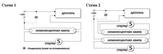 Схемы подключения люминесцентной лампы с дросселем