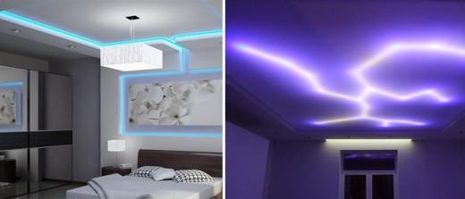 На фото показаны натяжные потолки со светодиодной лентой, блок питания спрятан в нише из гипсокартона