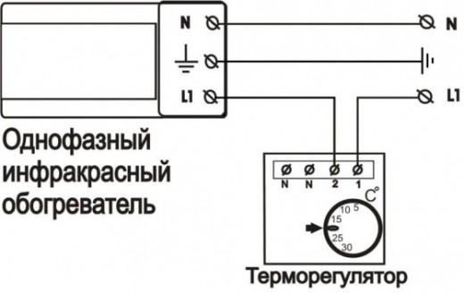 Схема подключения термостата к ИК-обогревателю на картинке