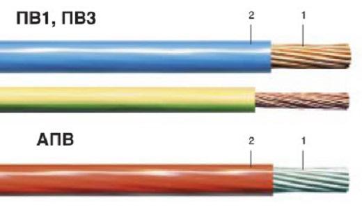 Для внешней отводки используют провода типа ПВ1 и ПВ3