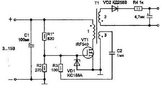 Схема импульсного блока питания на полевом транзисторе на рисунке