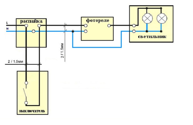 Схема подключения уличного фотореле на рисунке