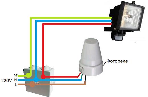 Схема подключения фонаря к фотореле на рисунке