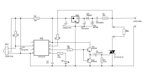 Схема управления симистором с микроконтроллера на рисунке