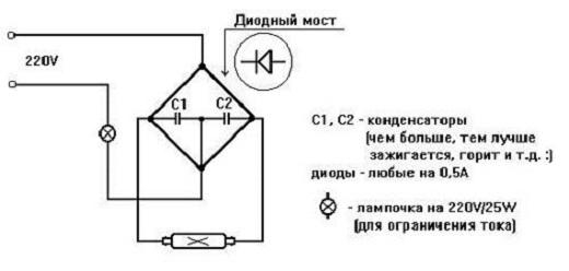 Схема включения люминесцентной лампы без дросселя на изображении
