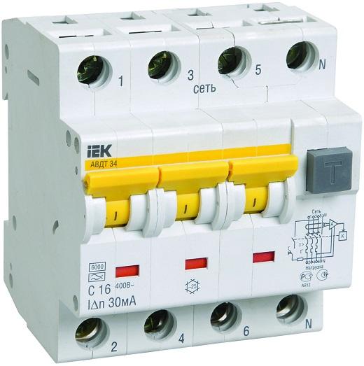 Дифференциальный автоматический выключатель ИЭК на фото