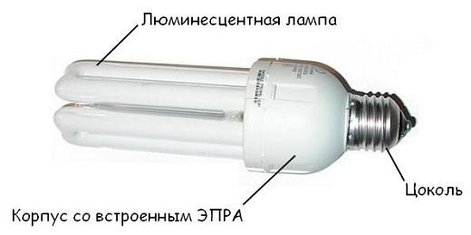 На снимке компактная люминесцентная лампа с электронным балластом