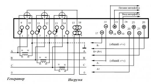 На изображении схема подключения трехфазного счетчика Меркурий 230