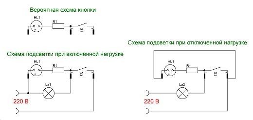 На рисунке представлены схемы разных вариантов подключения выключателя с подсветкой