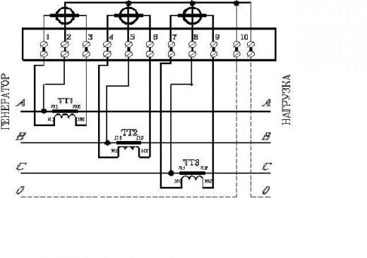 На фото схема подключения трехфазного счетчика через трансформаторы тока