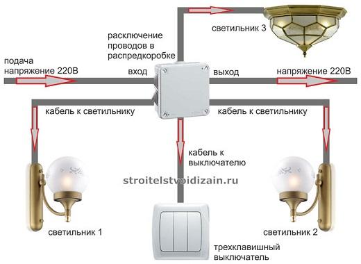 Общая схема подключения трехклавишного выключателя и трех светильников на рисунке